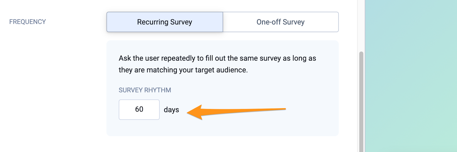 Setting up a recurring survey.