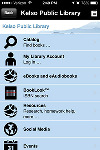 Kelso Public Library in the Library Now App