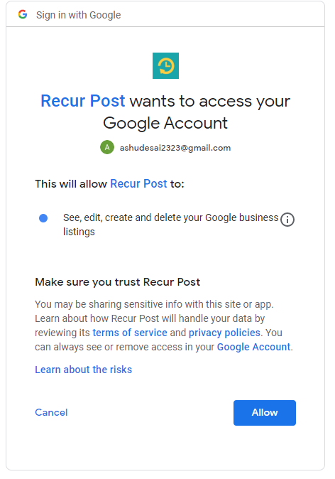 click on allow button to reconnect - recurpost - social media scheduling tool