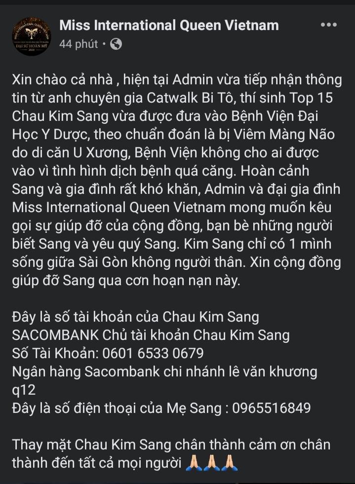Thí sinh team Minh Tú Đại Sứ Hoàn Mỹ mắc bệnh hiểm nghèo