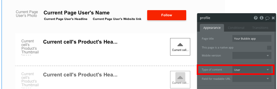 Bubble No Code Product Hunt Clone User Profile Template