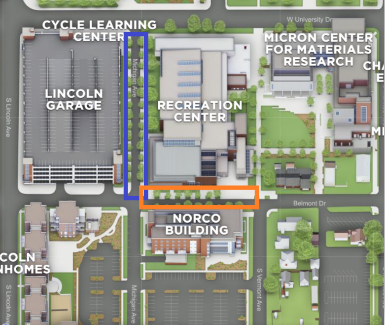 Map of affected intersection between Norco Building, Recreation center, and Lincoln Garage.