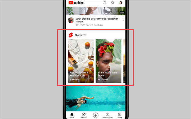 shorts in the youtube app
