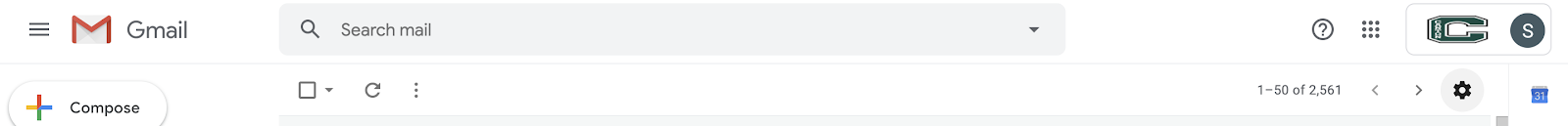 Gmail search gear icon
