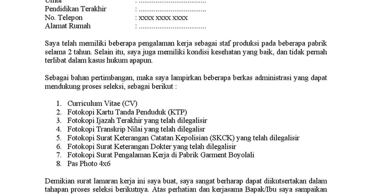 Surat Lamaran Kerja Di Pabrik Format Umum Ivdocx Google Drive