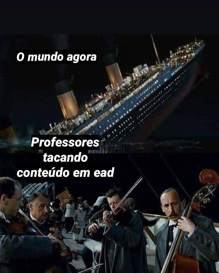 Montagem com cenas do filme Titanic, e frases sobre a educação em tempos de pandemia.