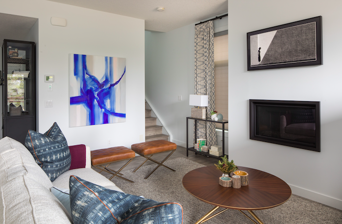 after: contemporary design meets a fresh feel in this living room