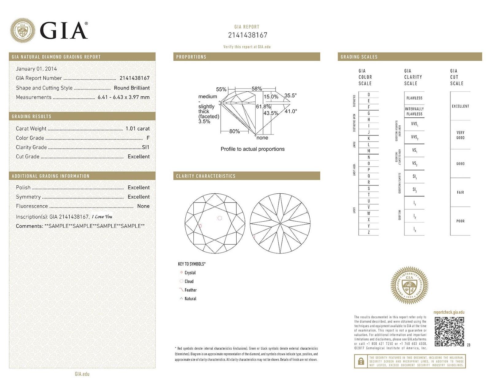 תכשיטים, טבעות אירוסין ויהלום - תעודת GIA עבור יהלום טבעי