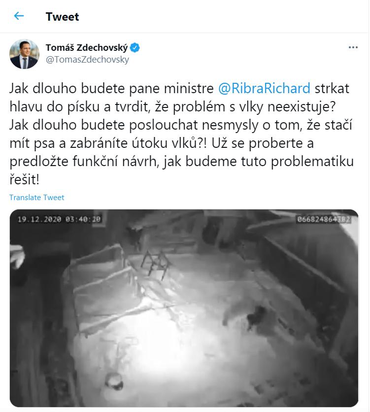 Video sdílel také europoslanec Zdechovský na svém twitter, ovšem bez vhodného kontextu.