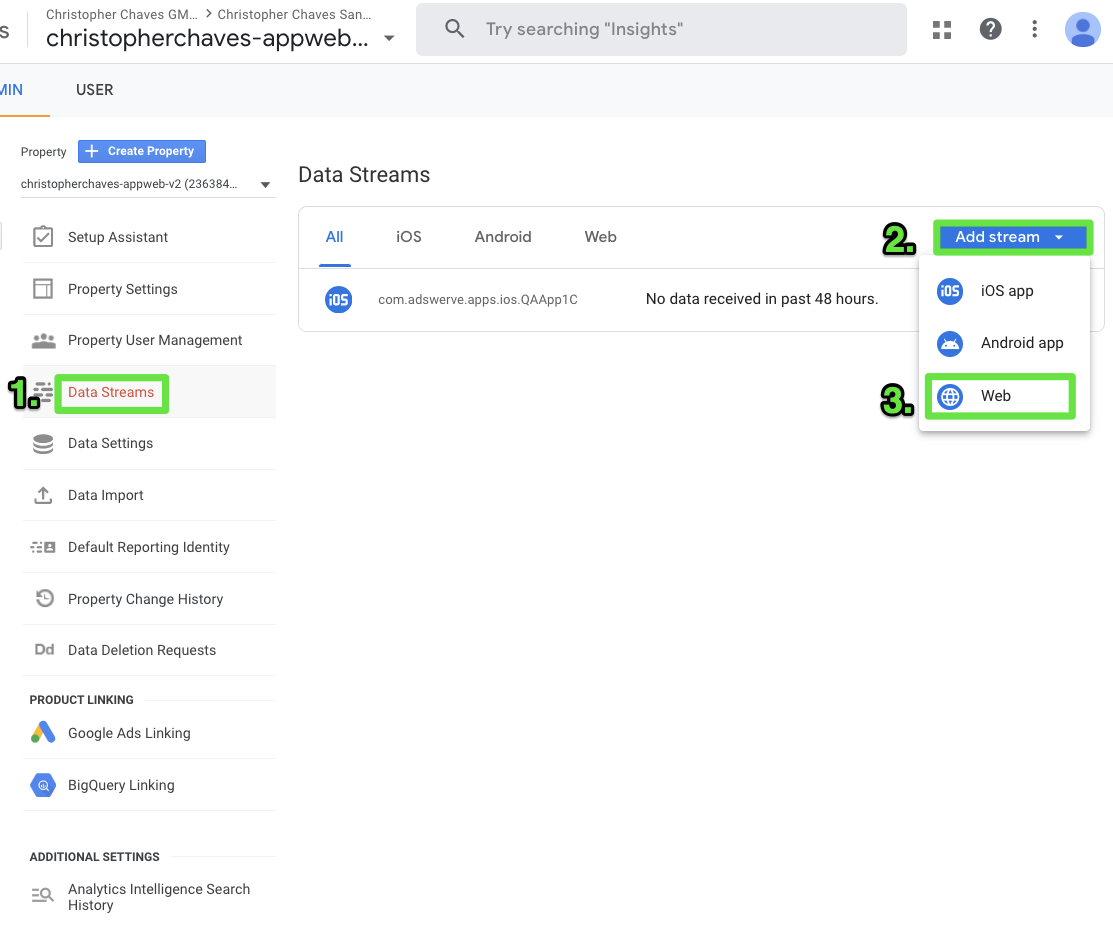 Adding a web data stream for your GA4 Property in Google Analytics.