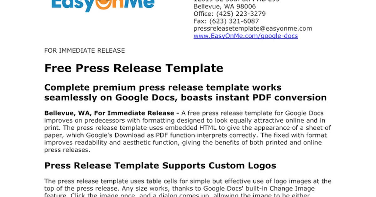 press release template google docs version google docs