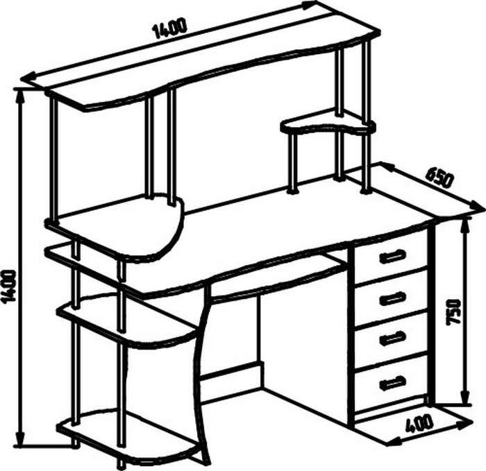 большой стильный компьютерный стол