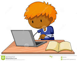 Boy and computer stock vector. Illustration of person - 53819875