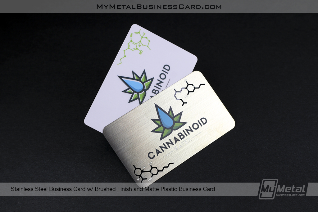 Plastic And Metal Cannabis Business Card Designs For Cannabinoid Water Against Black Background