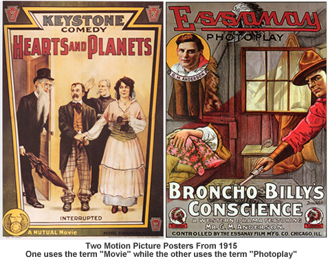 Movie posters from 1915, Movie and Photoplay terms