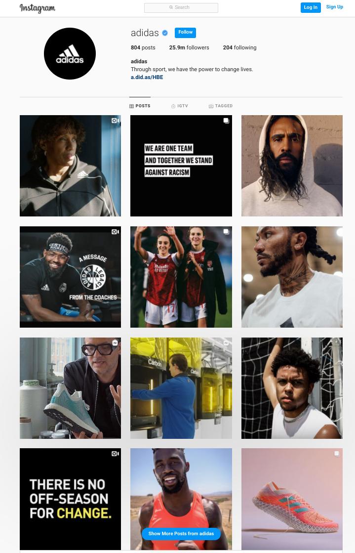 Adidas Instagram profile