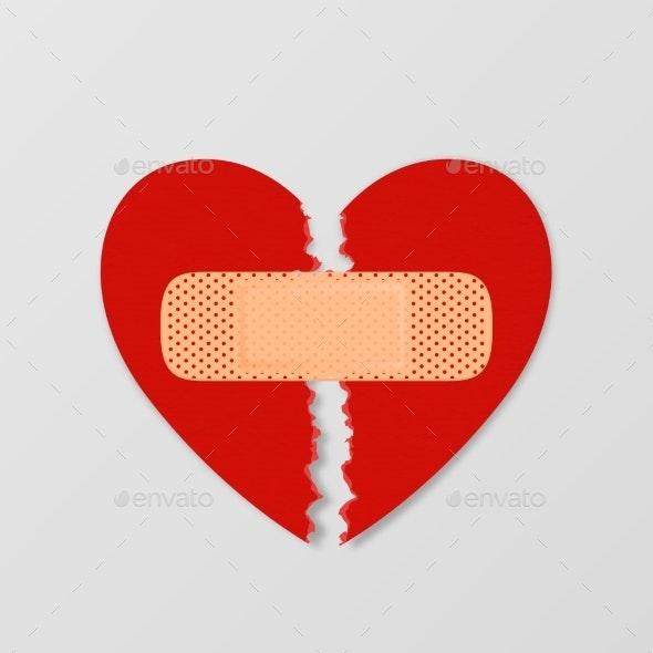 Vector Realistic Paper Textured Torn Heart - Miscellaneous Vectors