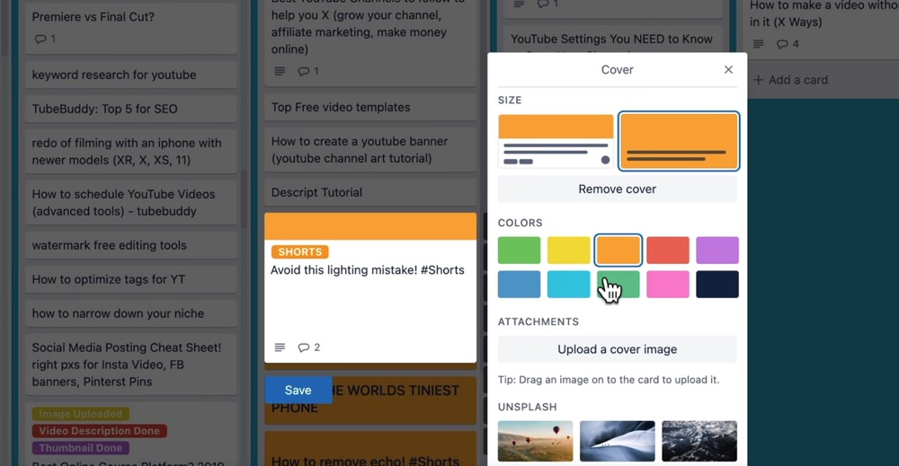 Assign colors to your Trello card to make them easier to differentiate
