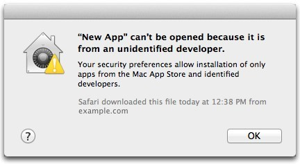 Gatekeeper can't open app OS X Mountain Lion