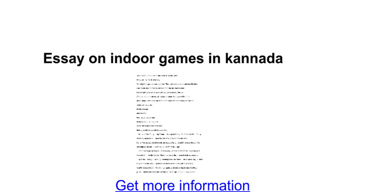 Essay about indoor and outdoor games
