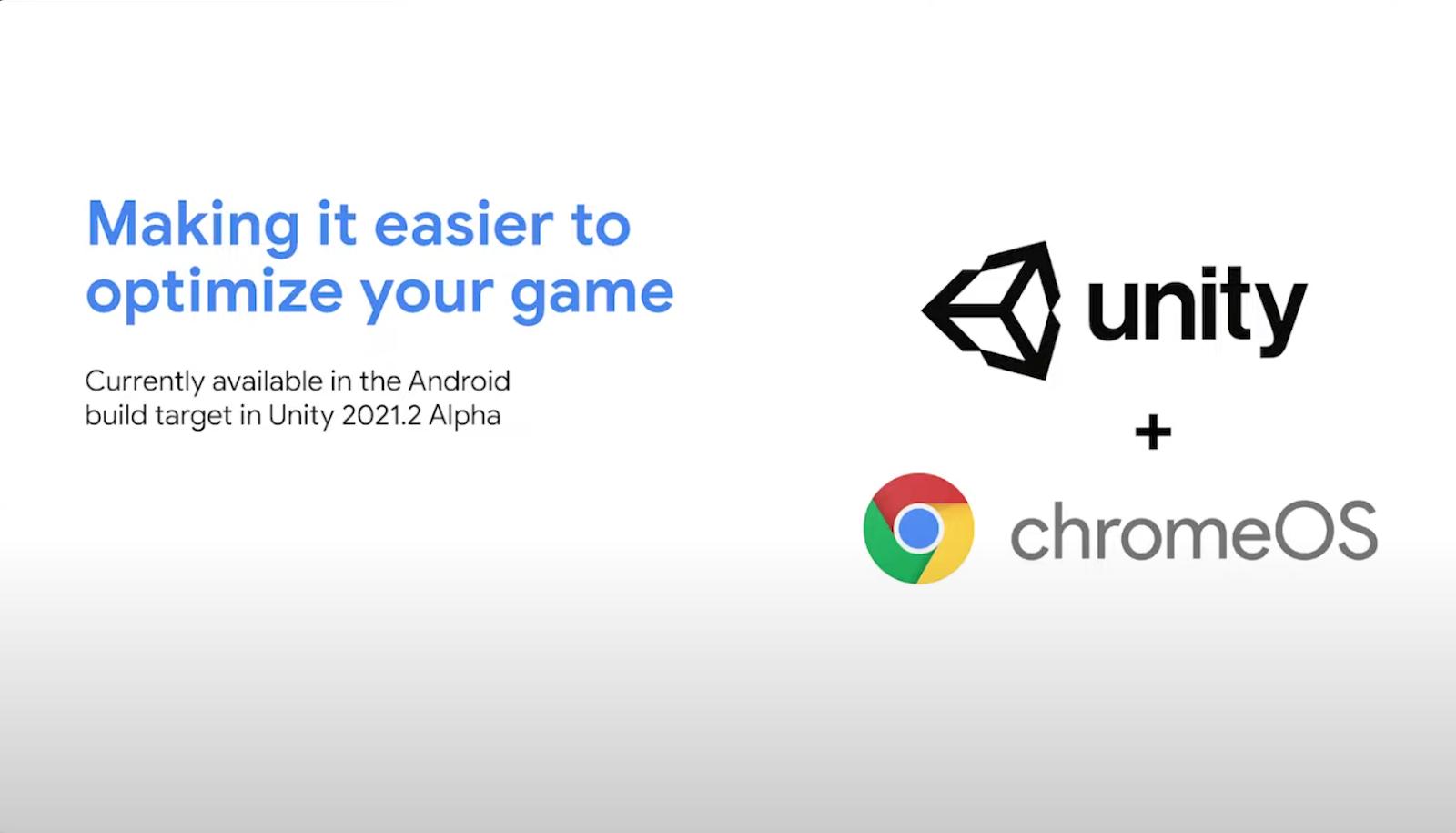 Unity et Chrome OS s'unifie pour le jeux vidéo