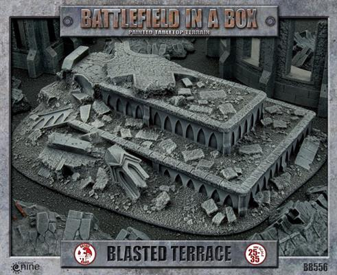 """The box art for the """"Blasted Terrace"""" piece of terrain from Gale Force 9."""