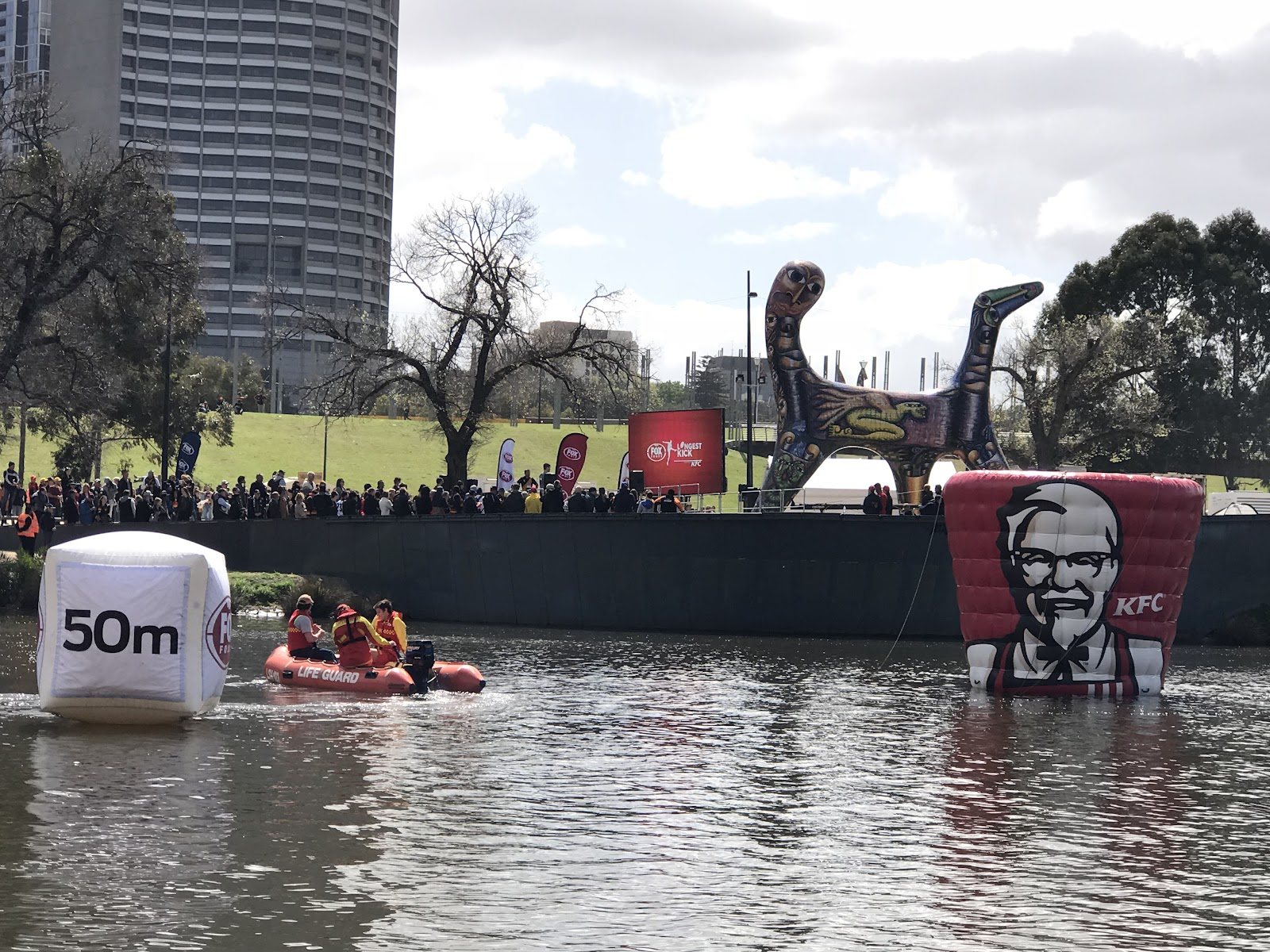 Floating Fox Footy, AFL and KFC Giant Inflatable targets