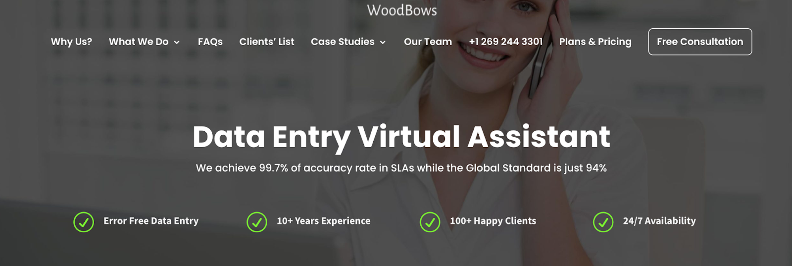 WoodBows website – data entry outsourcing company in India