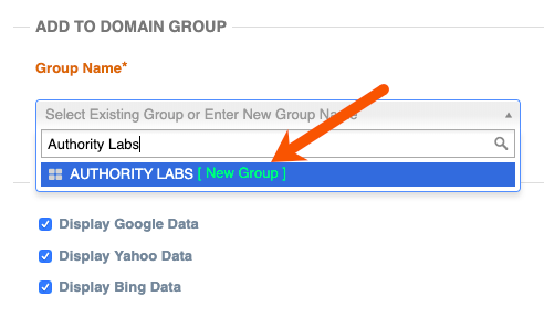 group keyword rankings in authoritylabs