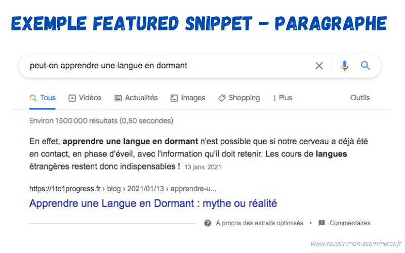 Exemple featured snippet - paragraphe