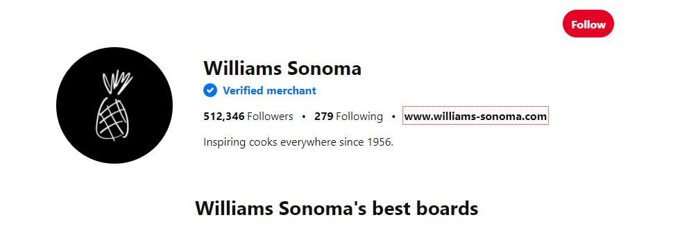 William Sonoma Instagram Verfied Profile