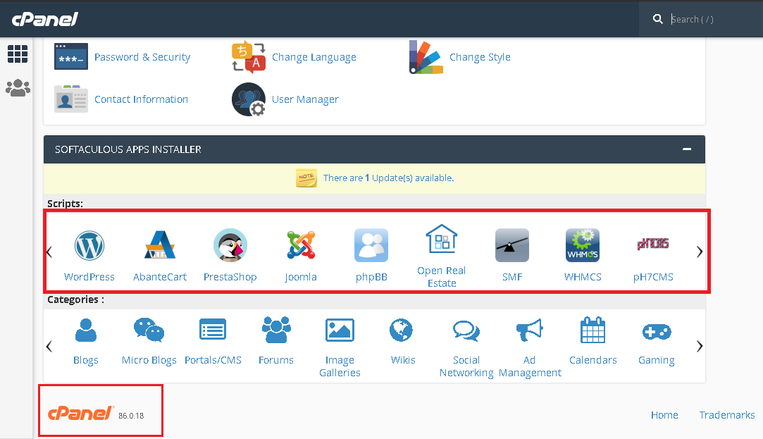 cPanel Dashboard for one click app installer Vapourhost