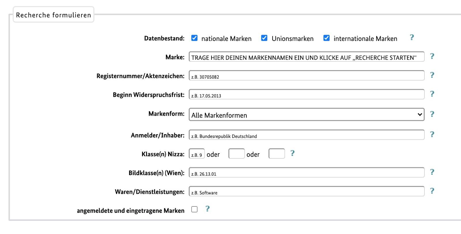Markennamen finden DPMA