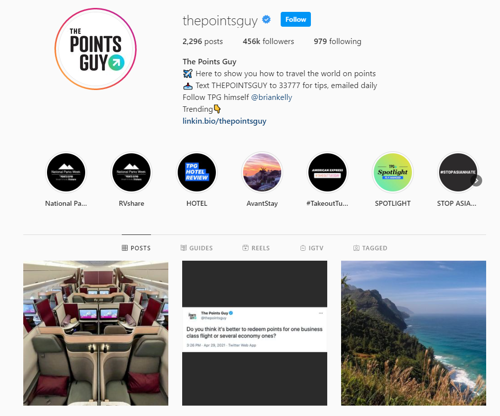 The Points Guy Instagram profile