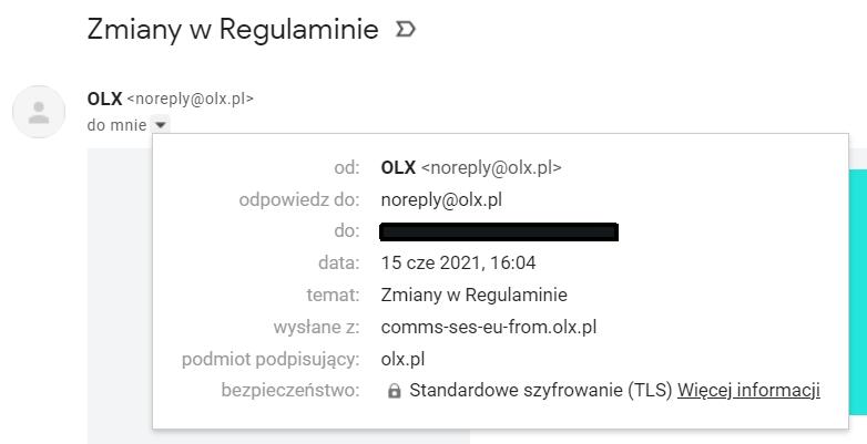 nagłówek wiadomości otrzymanej na poczcie Gmail, nadawca noreply@olx.pl