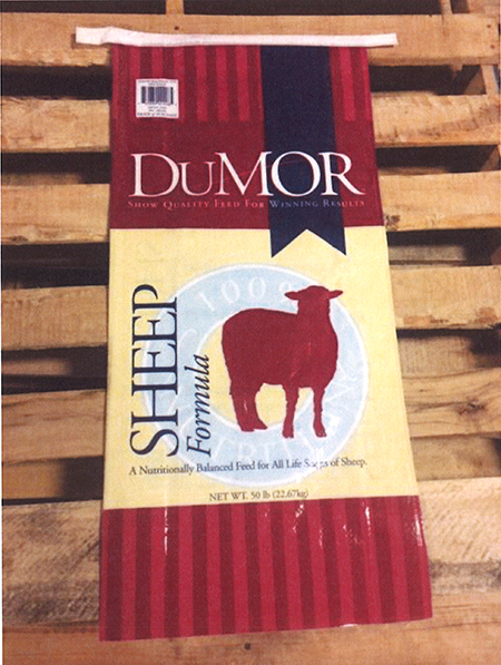 Dumor, Sheep Formula Net wt. 50 lbs (front label)