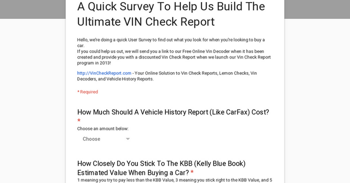 A Quick Survey To Help Us Build The Ultimate VIN Check
