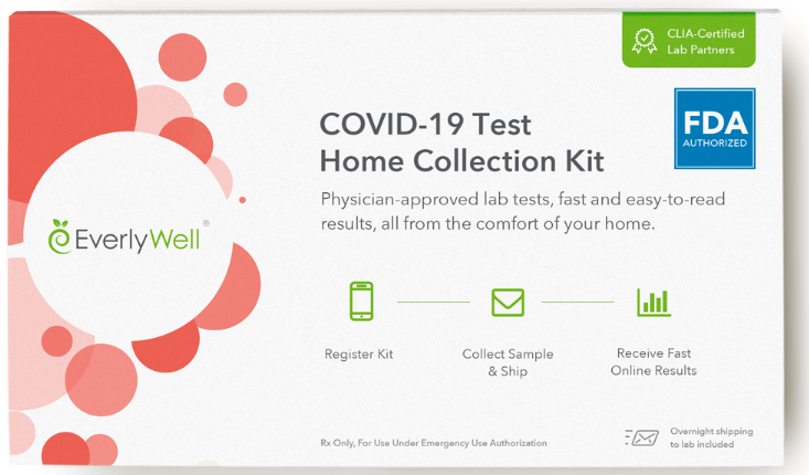 Kit de coleta de casa de teste Everlywell COVID-19.