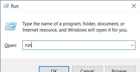 Open the Run tool