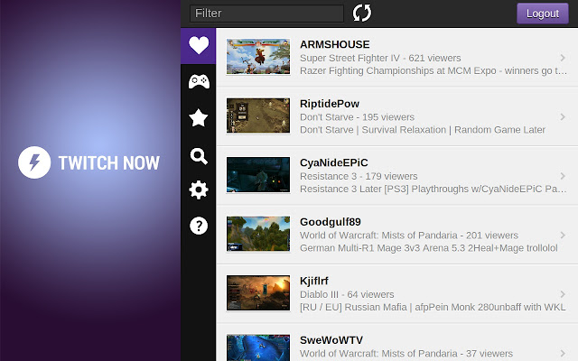 Twitch Now chrome extension