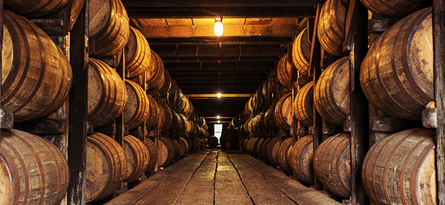 Craft Bourbon Aging In Barrels