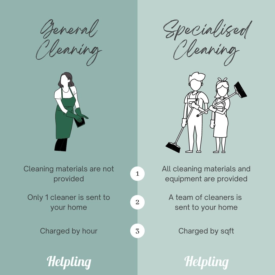 general cleaning vs specialised cleaning - differences