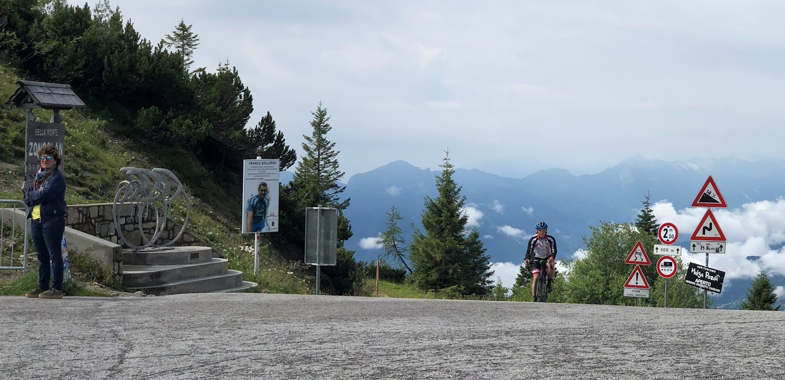 Monte Zoncolan from Ovaro bike climb - cyclist reaching the pass
