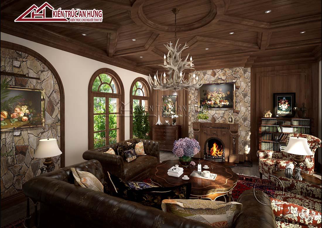 Nội thất phòng khách phong cách tân cổ điển sử dụng vật liệu gỗ, da