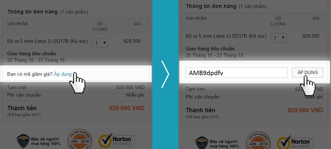 Bạn hãy nhập mã giảm giá Lazada cho mọi đơn hàng tại mục Áp dụng của mã giảm giá