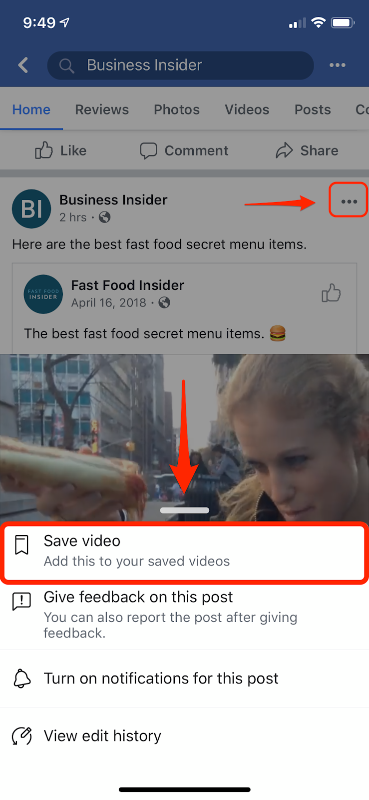 Tap the three dots at the top of the video post in order to see the option to save it for later.