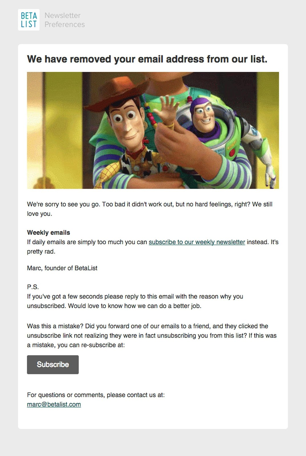 Beta List email example