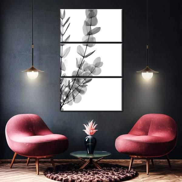 Noir Eucalyptus Leaves Multi Panel Canvas Wall Art