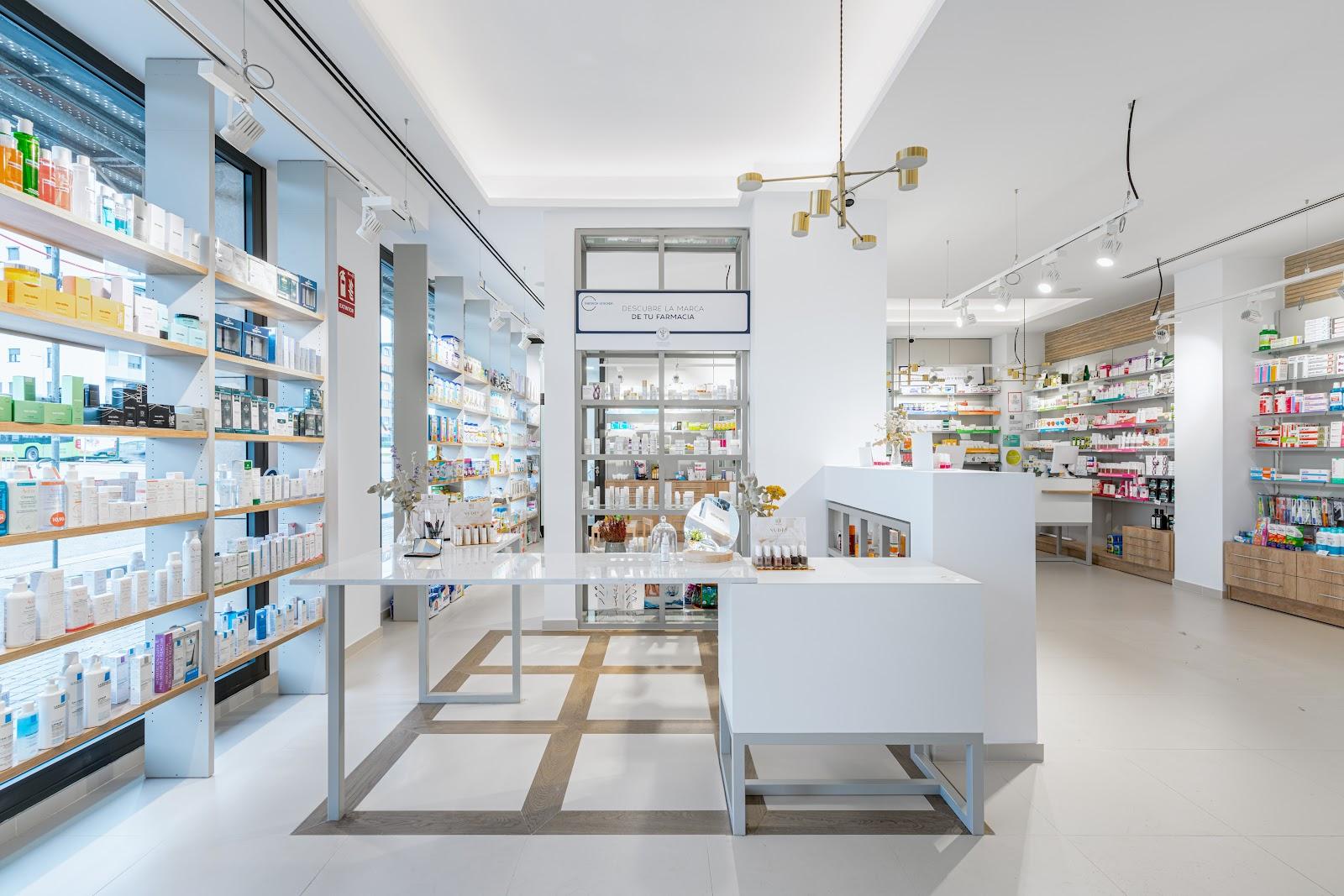 Mostrador dermocosmética en farmacia