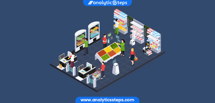 The image depicts With sensors, cameras, and actuators embedded on shelves, retailers can get real-time updates on products, enabling them to replenish when needed.